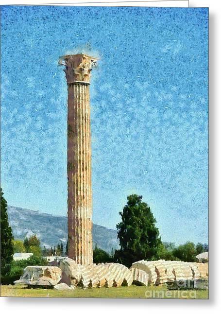 Olympian Paintings Greeting Cards - Temple of Olympian Zeus  Greeting Card by George Atsametakis