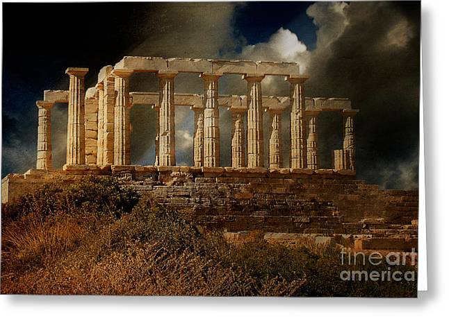Ancient Ruins Digital Art Greeting Cards - Temple of Poseidon Greeting Card by Lois Bryan