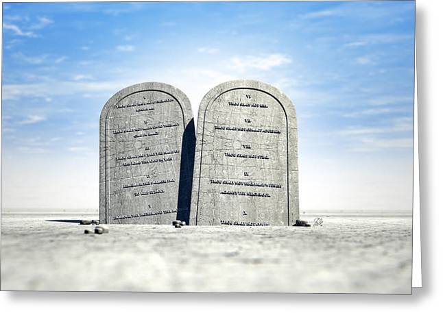 Instructions Greeting Cards - Ten Commandments Standing In The Desert Greeting Card by Allan Swart