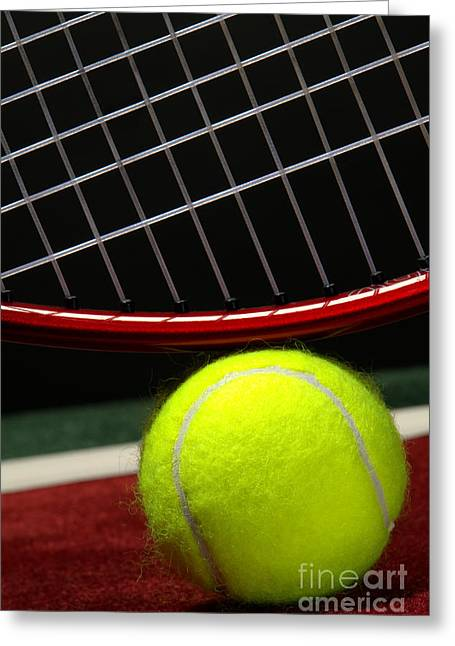 Athletic Greeting Cards - Tennis Ball Greeting Card by Olivier Le Queinec