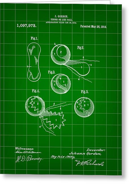 Tennis Match Greeting Cards - Tennis Ball Patent 1914 - Green Greeting Card by Stephen Younts