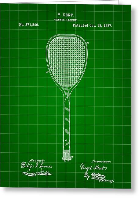 Navratilova Greeting Cards - Tennis Racket Patent 1887 - Green Greeting Card by Stephen Younts