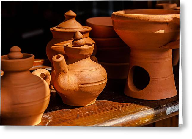 Old Pitcher Greeting Cards - Terra cotta jugs Greeting Card by Joseph Amaral