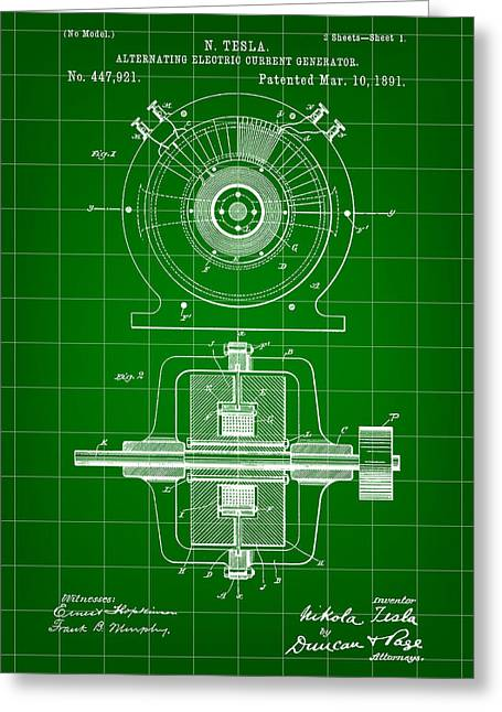 Electric Current Greeting Cards - Tesla Alternating Electric Current Generator Patent 1891 - Green Greeting Card by Stephen Younts