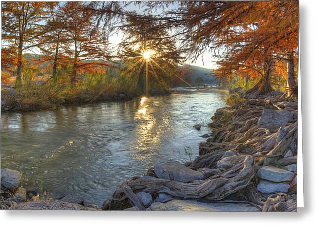 Photos Of Autumn Greeting Cards - Texas Hill Country Images - Pedernales Falls State Park Sunrise  Greeting Card by Rob Greebon