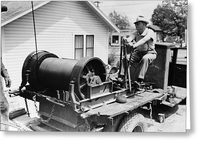 Texas Oil Worker, 1939 Greeting Card by Granger