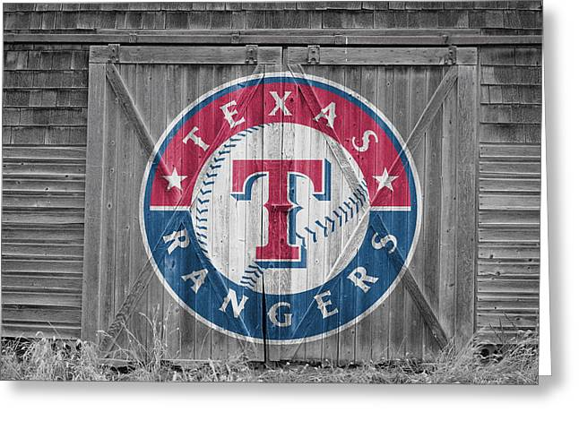 Glove Greeting Cards - Texas Rangers Greeting Card by Joe Hamilton