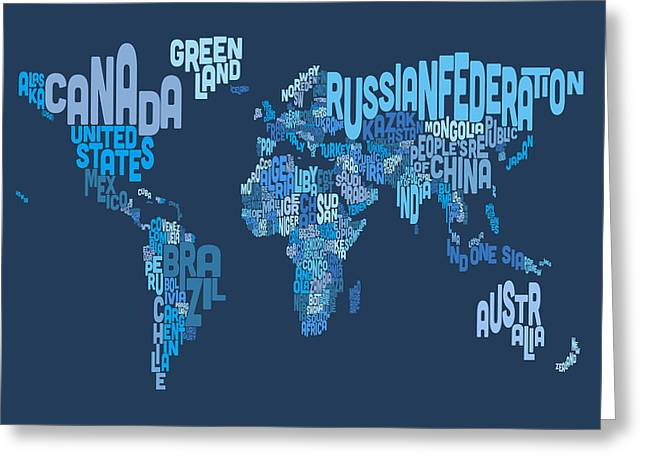 Cartography Digital Art Greeting Cards - Text Map of the World Map Greeting Card by Michael Tompsett