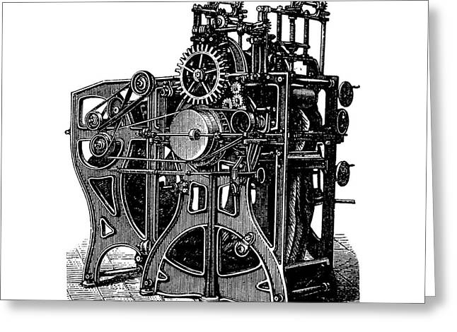 Finishing Greeting Cards - Textile Finishing Machine, 1880s Greeting Card by Bildagentur-online