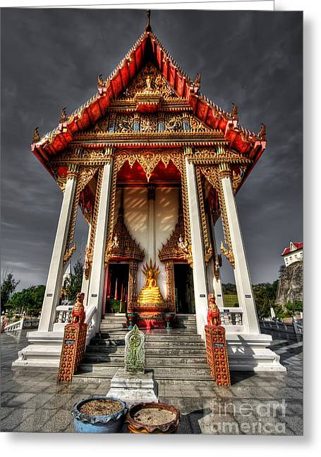 Religious Digital Art Greeting Cards - ThaI Temple Greeting Card by Adrian Evans