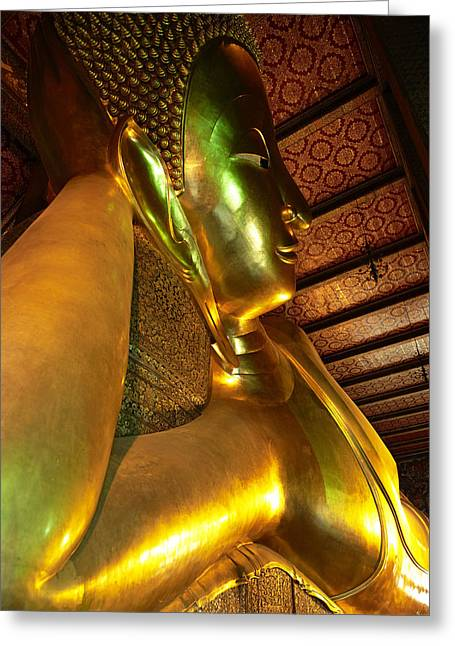 Religious Artwork Photographs Greeting Cards - Thailand, Bangkok, Wat Pho, Buddhist Greeting Card by Tips Images