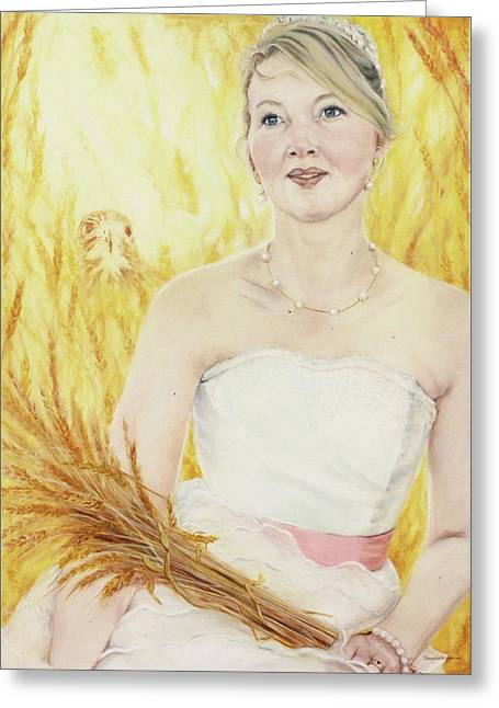 Spiritual Portrait Of Woman Paintings Greeting Cards - Thank You God Greeting Card by Jeanette Sthamann