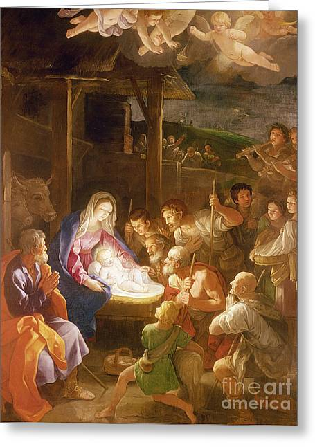 Gospel Greeting Cards - The Adoration of the Shepherds Greeting Card by Guido Reni