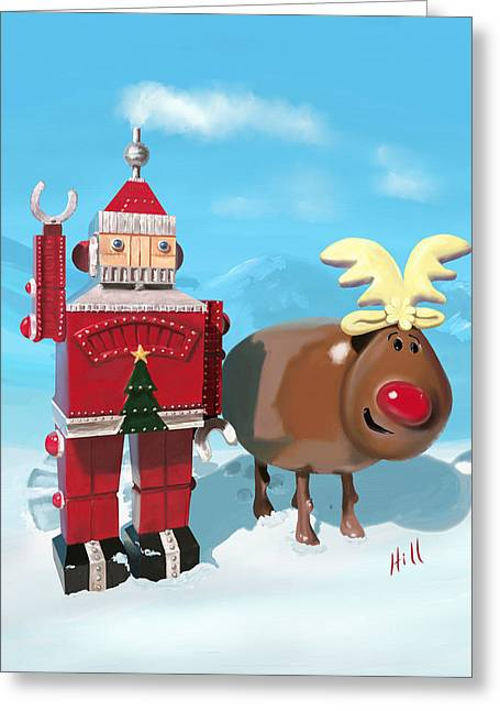 Kevin Hill Greeting Cards - The Adventures of Oh Deer and Robo Santa Greeting Card by Kevin Hill