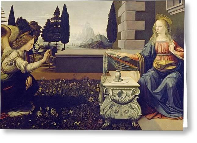 The Uffizi Greeting Cards - The Annunciation Greeting Card by Leonardo da Vinci