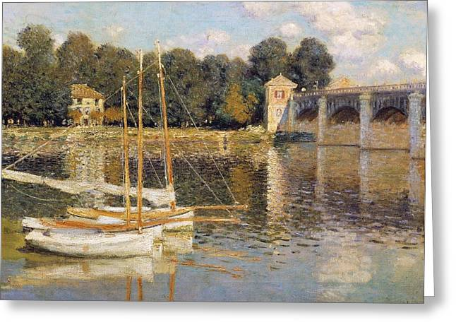 1874 Greeting Cards - The Argenteuil Bridge Greeting Card by Claude Monet