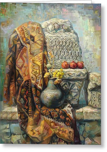 The Armenian Still-life With A Armenian Doll Greeting Card by Meruzhan Khachatryan