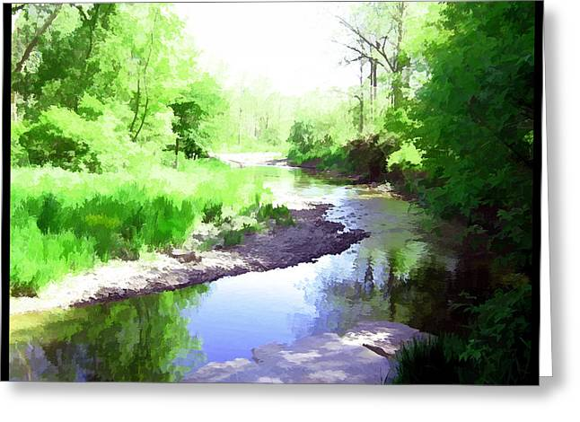 Park Scene Mixed Media Greeting Cards - The Babbling Stream Greeting Card by Shawn Dall