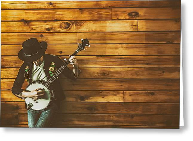 Playing Musical Instruments Greeting Cards - The Banjo Picker Greeting Card by Ryan McGuire