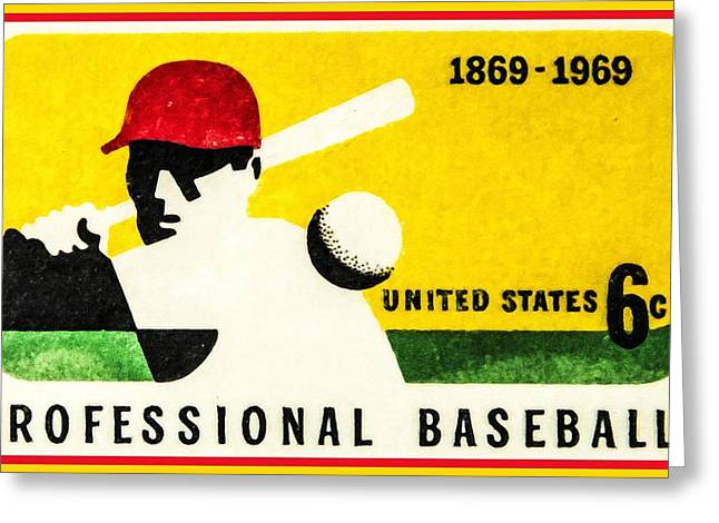 Batter Paintings Greeting Cards - The Baseball Centennial stamp Greeting Card by Lanjee Chee