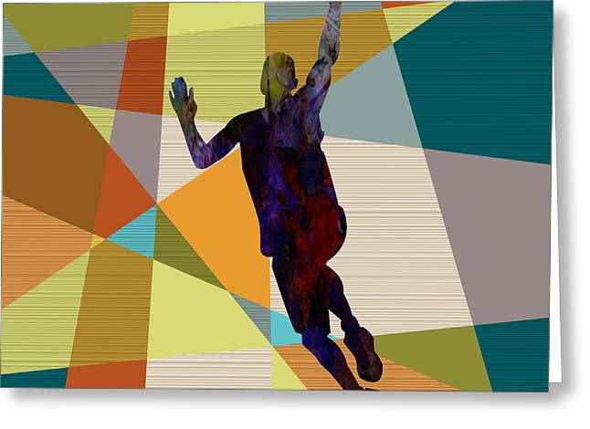 Dunking Paintings Greeting Cards - The Basket Player  Greeting Card by Celestial Images