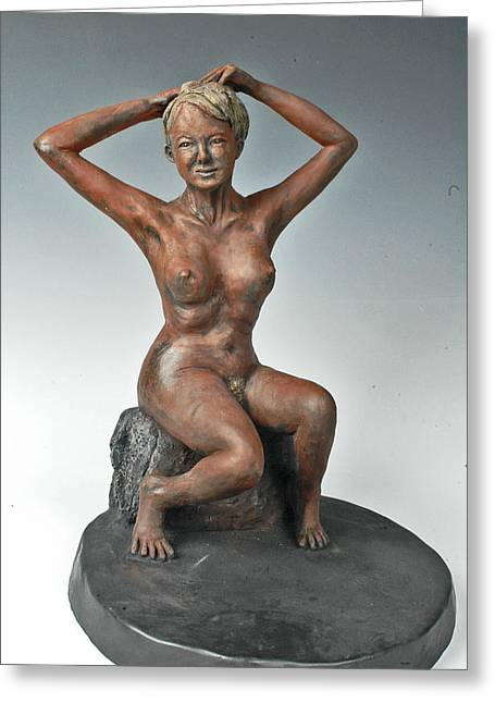 Nude Sculptures Greeting Cards - The Bather Greeting Card by Eduardo Gomez