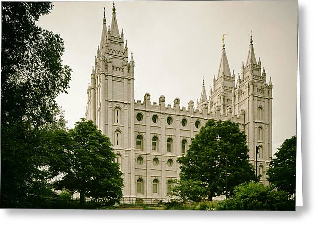Analog Greeting Cards - The Beautiful Mormon Temple - Salt Lake City Greeting Card by Mountain Dreams
