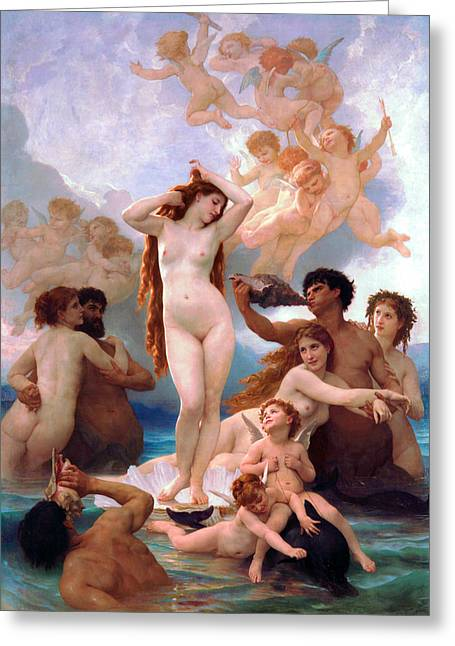 Academic Nudes Greeting Cards - The Birth of Venus Greeting Card by William-Adolphe Bouguereau