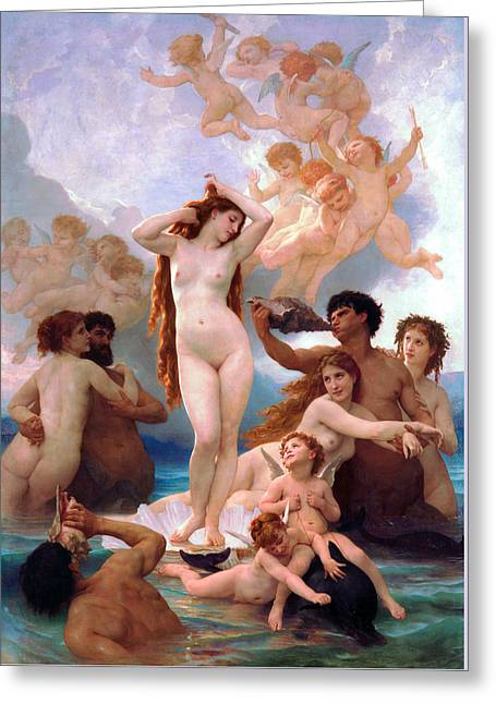The Birth Of Venus Greeting Card by William-Adolphe Bouguereau