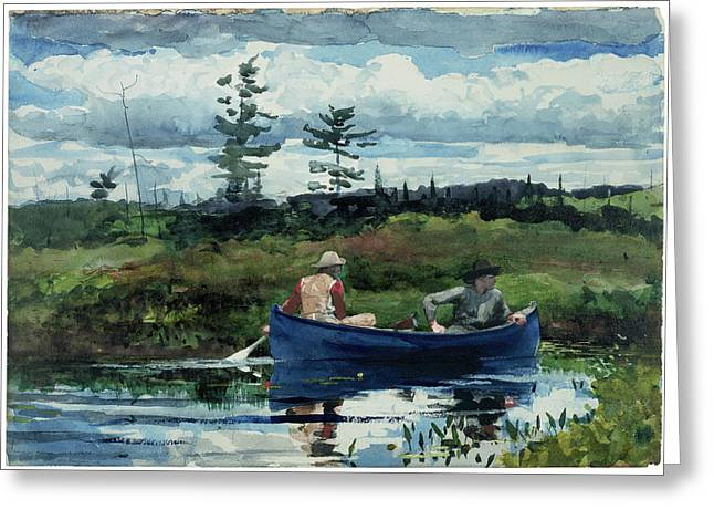 Winslow Homer Greeting Cards - The Blue Boat Greeting Card by Celestial Images