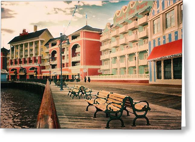 Pallet Knife Greeting Cards - The Boardwalk At Walt Disney World Greeting Card by Thomas Woolworth