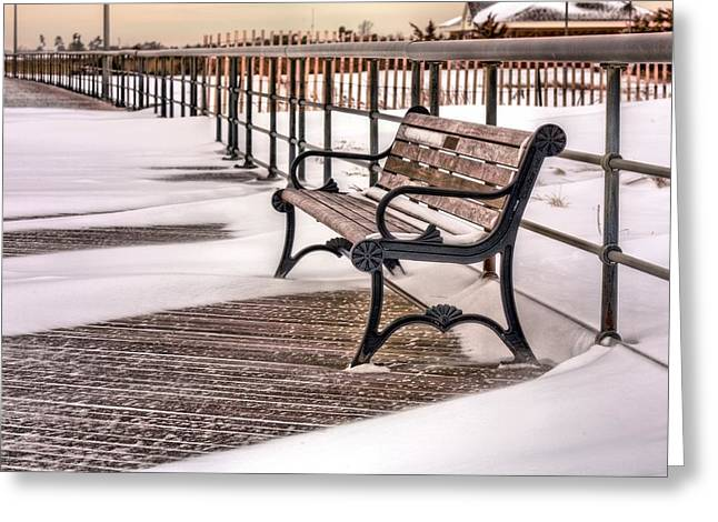 Winter Storm Nemo Greeting Cards - The Boardwalk Greeting Card by JC Findley
