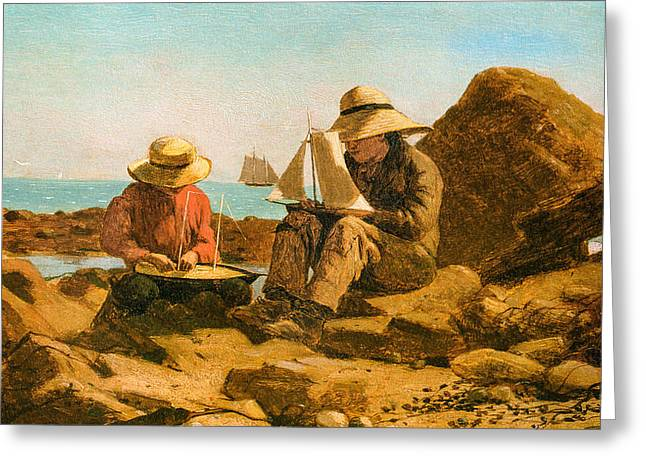 Buildings By The Sea Greeting Cards - The Boat Builders Greeting Card by Winslow Homer