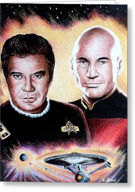 Shatner Greeting Cards - The Captains   Greeting Card by Andrew Read