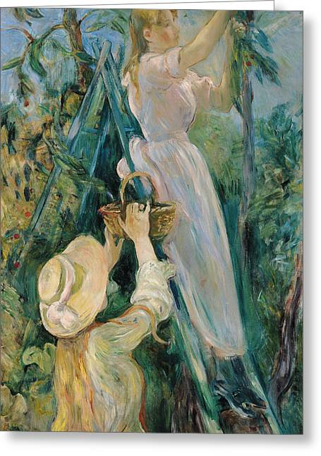 Sun Hat Greeting Cards - The Cherry Picker  Greeting Card by Berthe Morisot