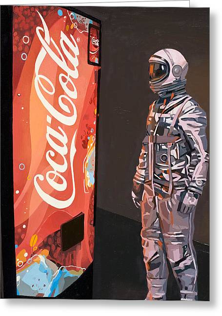 Pop Paintings Greeting Cards - The Coke Machine Greeting Card by Scott Listfield
