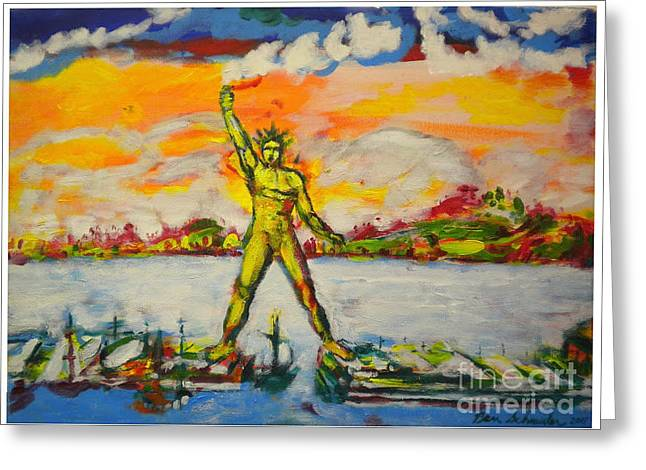 Mandraki Greeting Cards - The Colossus of Rhodes Greeting Card by Ben Schneider