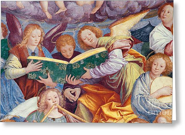 Playing Musical Instruments Greeting Cards - The Concert of Angels Greeting Card by Gaudenzio Ferrari