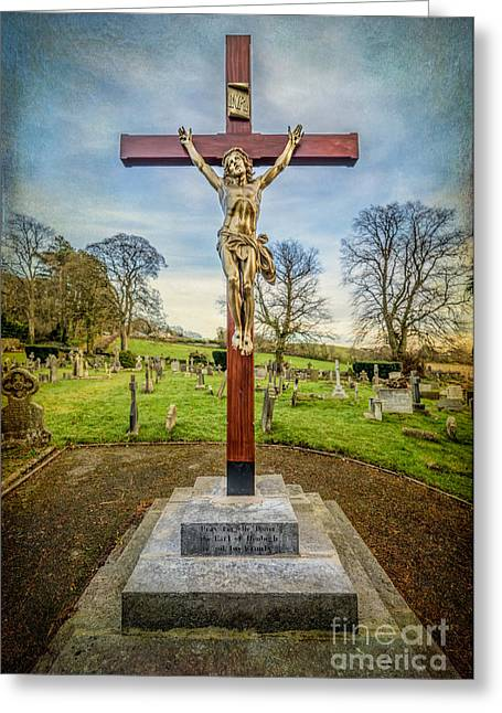 Cross On The Grave Greeting Cards - The Cross Greeting Card by Adrian Evans