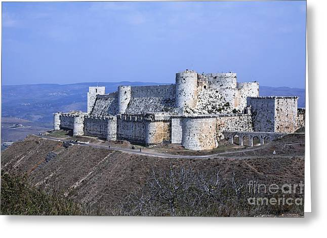 Chevalier Photographs Greeting Cards - The crusader castle Krak Des Chevaliers Syria Greeting Card by Robert Preston
