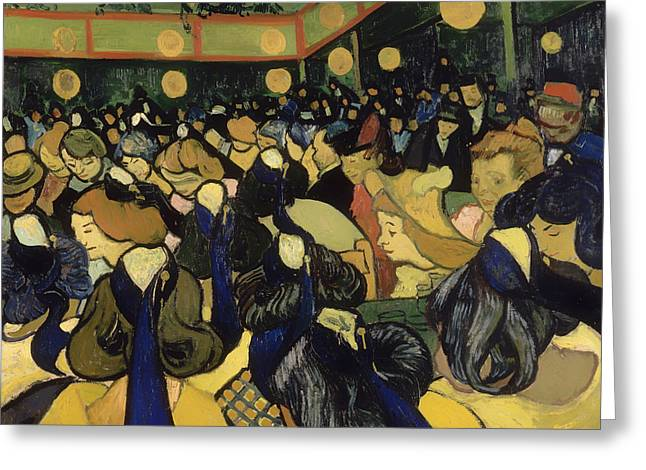 Night Out Paintings Greeting Cards - The Dance Hall in Arles Greeting Card by Vincent van Gogh