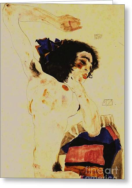 Schiele Drawings Greeting Cards - The Dancer Moa Greeting Card by Pg Reproductions
