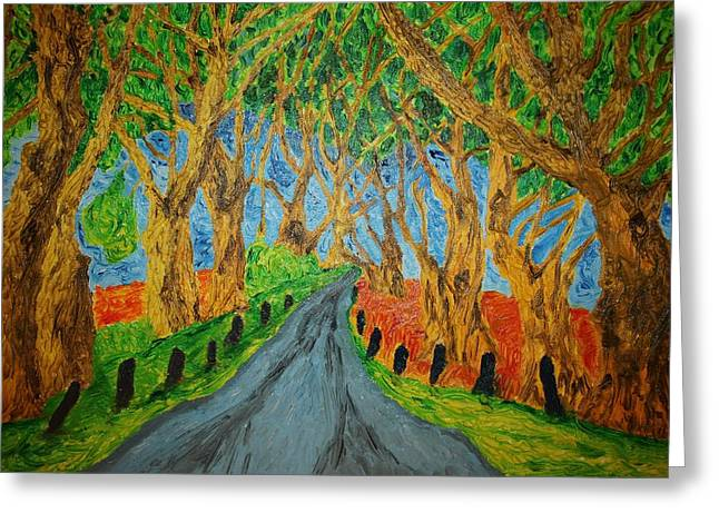 Van Gogh Style Drawings Greeting Cards - The Dark Hedges Greeting Card by Paul Morgan