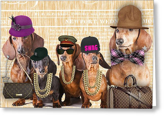The Dachshund Family Greeting Card by Marvin Blaine