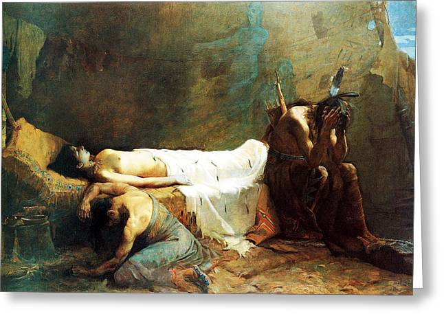 Native American Nude Woman Greeting Cards - The Death of Minnehaha Greeting Card by William De Leftwich Dodge