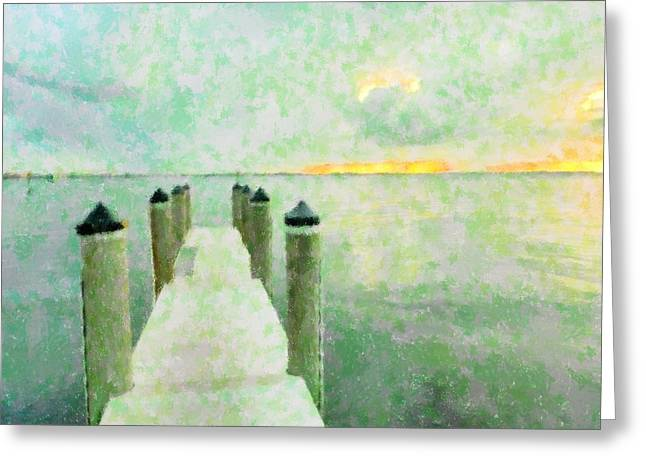 Surreal Landscape Mixed Media Greeting Cards - The Dock Greeting Card by Florene Welebny