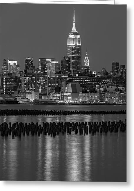 Night-scape Greeting Cards - The Empire State Building Pastels II Greeting Card by Susan Candelario