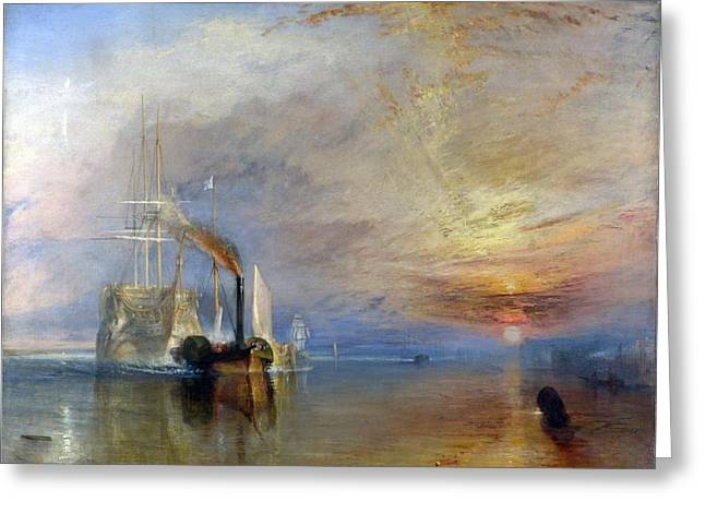 Painter Of Light Greeting Cards - The Fighting Temeraire tugged to her last berth to be broken up Greeting Card by J M W Turner