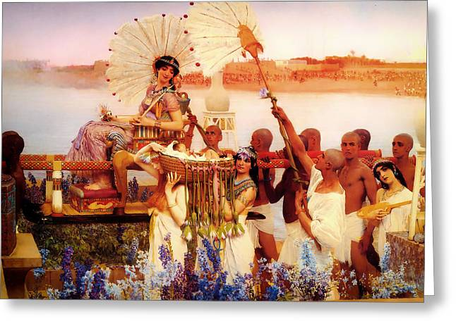 Bible Scene Greeting Cards - The Finding of Moses Greeting Card by Lawrence Alma-Tadema