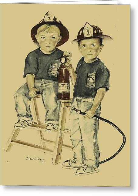 Fineartamerica Drawings Greeting Cards - The Firefighters Sons Greeting Card by Diane Strain